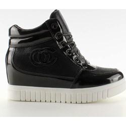 43b4ee42 Sneakersy damskie na koturnie bez wzorów sznurowane