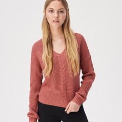 b4b0a246cfdb13 Sweter damski Sinsay z dekoltem v zimowy bez wzorów