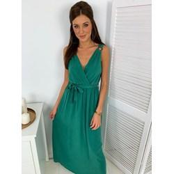 b346973e92fbee Sukienka gładka z wiskozy zielona maxi kopertowa