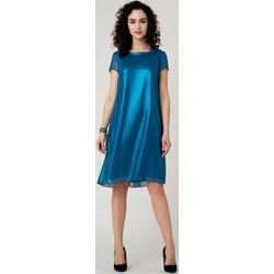 763a3672c Sukienka Potis & Verso elegancka z krótkim rękawem bez wzorów