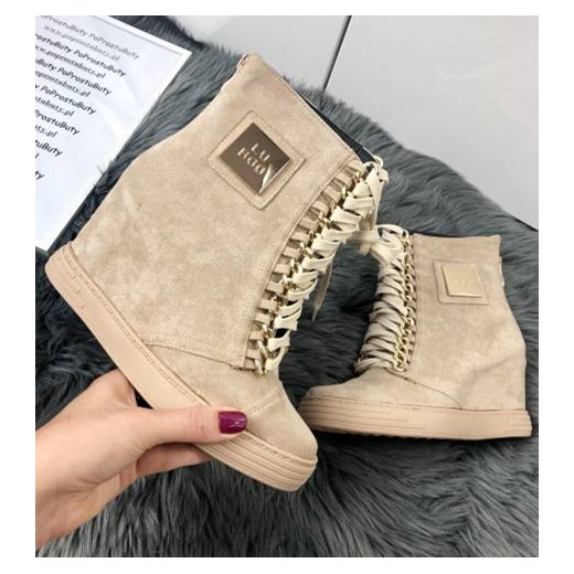 Sneakersy damskie Lu Boo bez wzorów na koturnie w Domodi