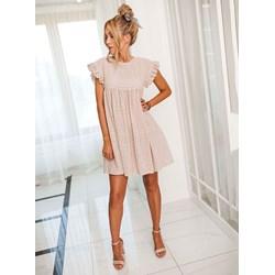 8021744205655c Sukienka Selfieroom z okrągłym dekoltem z krótkimi rękawami oversize'owa  elegancka