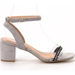 01f9a471f6af2b Sandały damskie Buty Ideal Shoes ze skóry ekologicznej z klamrą na lato na  obcasie eleganckie na