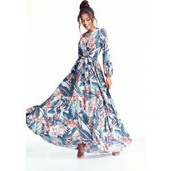 b44f6fada Sukienka Mosquito w stylu boho rozkloszowana z dekoltem w serek maxi