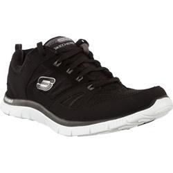 8b0f23b0e Czarne buty sportowe damskie Skechers do biegania sznurowane gładkie