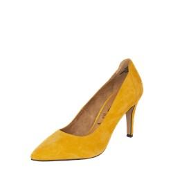 b3a6e3ec Czółenka Tamaris na obcasie w noskiem w szpic żółte eleganckie skórzane ...