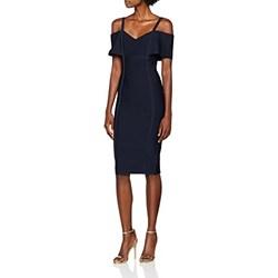 ef5dc519999f03 Sukienka granatowa elegancka midi z krótkim rękawem z odkrytymi ramionami