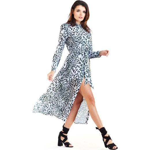 cfc96eca636430 Sukienka Awama w zwierzęce wzory z długim rękawem na uczelnię na wiosnę midi