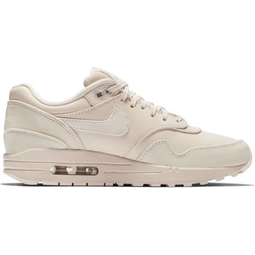 Beżowe buty sportowe damskie Nike dla biegaczy bez wzorów płaskie skórzane wiązane