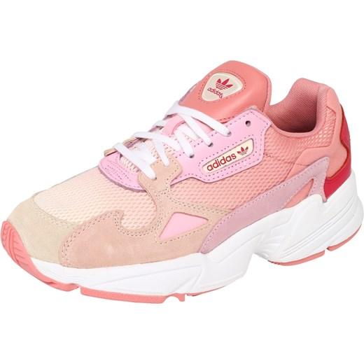 Buty sportowe damskie Adidas Originals do fitnessu młodzieżowe różowe sznurowane skórzane na platformie bez wzorów