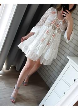 Koronkowa sukienka LAURA biała   promocja MON BOUTIQUE  - kod rabatowy