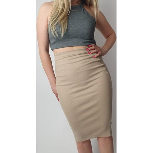 piękny Spódnica midi bez wzorów w stylu młodzieżowym Odzież Damska BV beżowy Spódnice RMCT