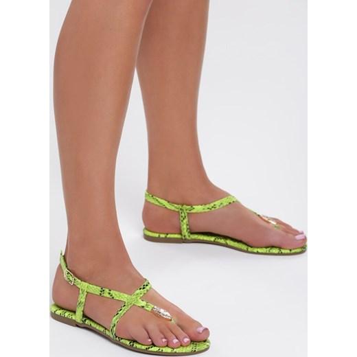 Sandały damskie Renee w zwierzęcy wzór z klamrą Buty Damskie TL zielony Sandały damskie LNOF