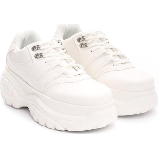 Sneakersy damskie sznurowane białe ze skóry ekologicznej
