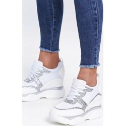 83ceda484bfb68 Sneakersy damskie Renee białe bez wzorów wiązane ze skóry ekologicznej