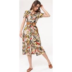 434b55b08d0e34 Sukienka Born2be z krótkim rękawem w kwiaty boho na spacer