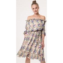 4118a93a6c69ed Sukienka Born2be z odkrytymi ramionami wielokolorowa z długim rękawem boho