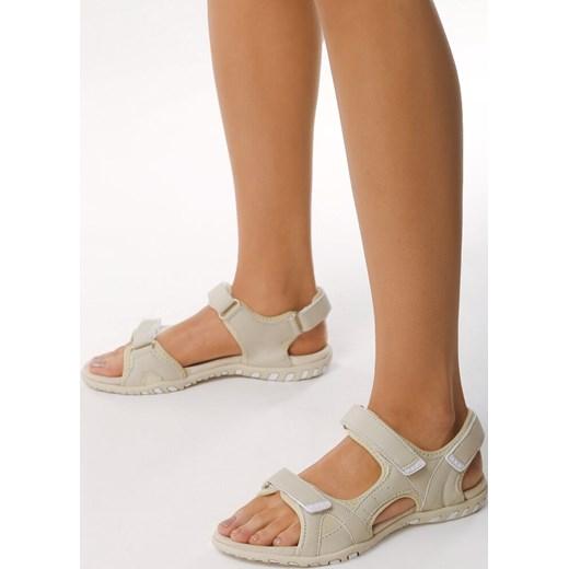 Sandały damskie Born2be ze skóry ekologicznej Buty Damskie CC beżowy Sandały damskie JHRI