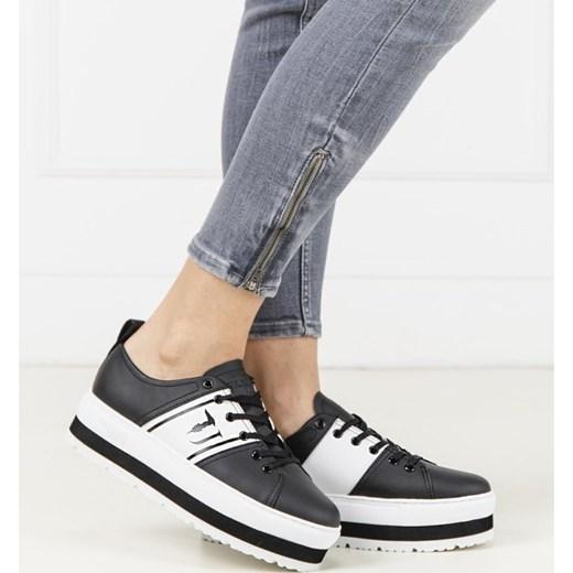 Trampki damskie Trussardi Jeans na płaskiej podeszwie czarne sznurowane