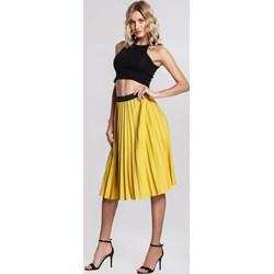 60f559c8105f45 Żółte spódnice, lato 2019 w Domodi