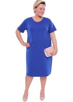 Chabrowa gładka sukienka z kieszeniami   Modne Duże Rozmiary - kod rabatowy