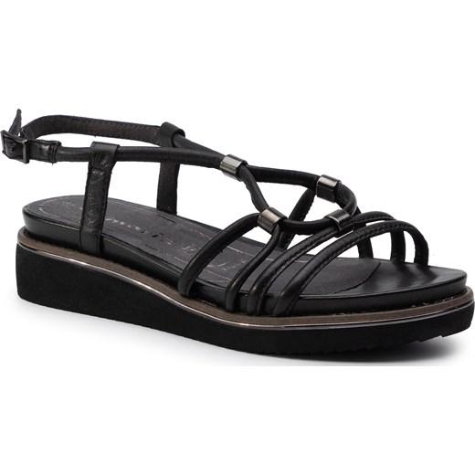 Tamaris sandały damskie skórzane z klamrą gładkie Buty