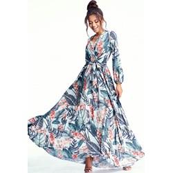 1a56df72606246 Sukienka Mosquito rozkloszowana maxi wielokolorowa w serek z długimi  rękawami