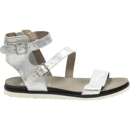 Sandały damskie Darbut z klamrą srebrne na płaskiej