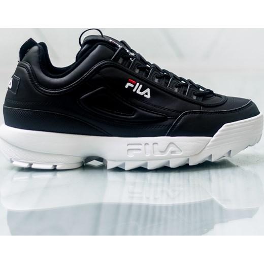 Buty sportowe męskie Fila czarne sznurowane wyszukane