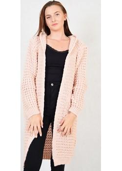 Gruby, długi sweter z kapturem i wełną w składzie   promocyjna cena berry.com.pl  - kod rabatowy