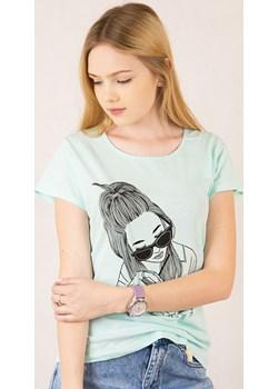 Zielony T-Shirt z nadrukiem   wyprzedaż berry.com.pl  - kod rabatowy