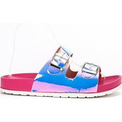 39cbd661581389 Klapki damskie wielokolorowe Ideal Shoes casualowe bez wzorów