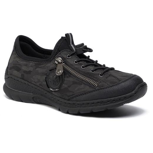 Buty sportowe damskie Rieker na płaskiej podeszwie czarne