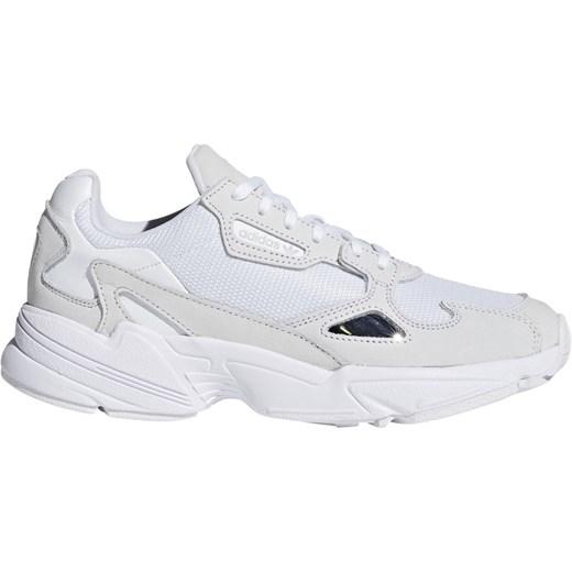 Buty sportowe damskie białe bez wzorÓw na platformie www
