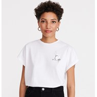 d88c5754 Bluzka damska Reserved biała z krótkimi rękawami z okrągłym dekoltem