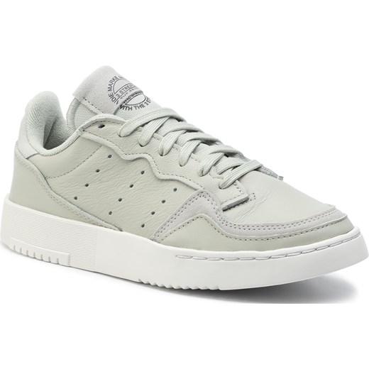 Trampki damskie Adidas sportowe białe bez wzorów sznurowane