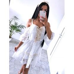 dc36703ff89aa6 Sukienka Magmac z dekoltem v z długim rękawem na wesele rozkloszowana mini