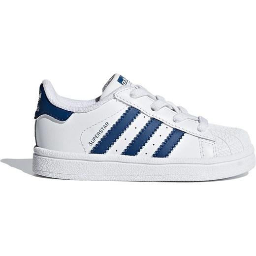 Trampki dziecięce białe Adidas skórzane wiązane w paski