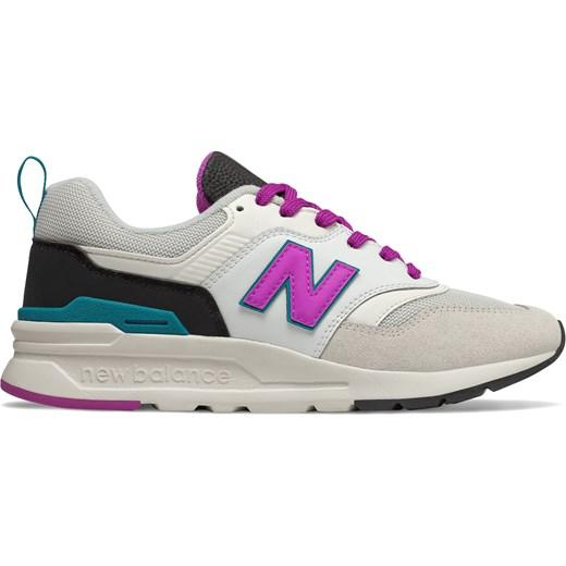 Buty sportowe damskie New Balance w stylu casual młodzieżowe sznurowane z tworzywa sztucznego płaskie bez wzorów