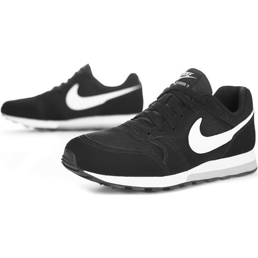 Buty sportowe damskie Nike do biegania md runner sznurowane płaskie bez wzorów czarne