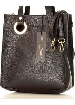 MARCO MAZZINI Designerska torebka skórzana shopper bag czarna Mazzini  merg.pl - kod rabatowy