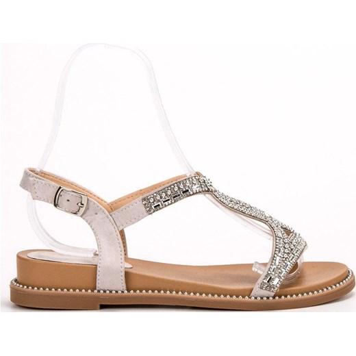 Sandały damskie Bello Star z niskim obcasem na koturnie z aplikacjami casual z klamrą zamszowe Buty Damskie VS różowy Sandały damskie EXWI