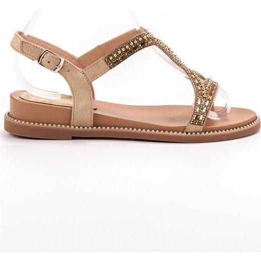 Sandały damskie Bello Star z aplikacjami z niskim obcasem na koturnie z klamrą Buty Damskie LH brązowy Sandały damskie QZFH