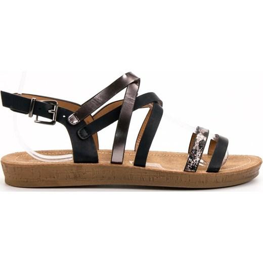 Czarne sandały damskie Seastar płaskie ze skóry ekologicznej z klamrą casualowe bez wzorów Buty Damskie BS czarny Sandały damskie QVCN