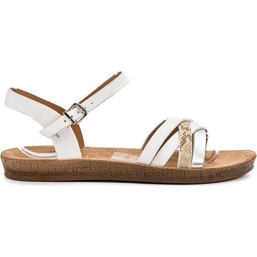 Sandały damskie Seastar płaskie ze skóry ekologicznej Buty Damskie US biały Sandały damskie YGTT