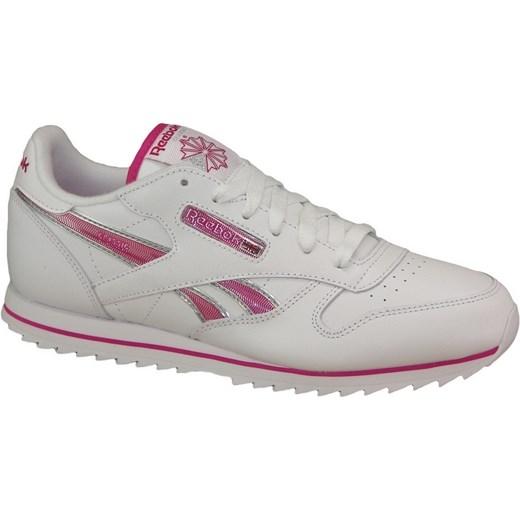 Buty sportowe damskie białe Reebok sneakersy młodzieżowe płaskie wiązane bez wzorów