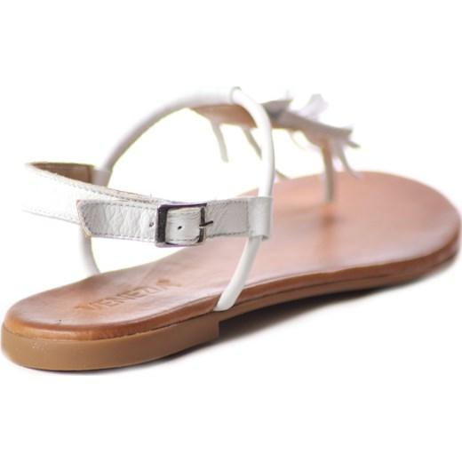 Sandały damskie białe Venezia z klamrą bez obcasa casual