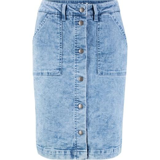 Spódnica dżinsowa ze stretchem Bonprix Odzież Damska PG niebieski Spódnice VUOH 70% ZNIŻKI