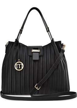Luźna torba damska monnari torebka typu worek plisowana shopperka brelok logo - czarny Monnari  okazja world-style.pl  - kod rabatowy