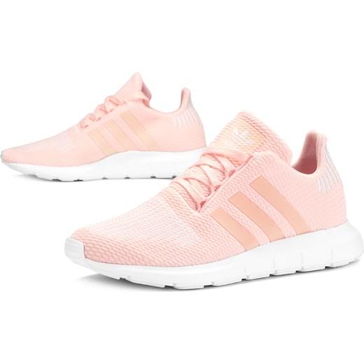 Buty sportowe damskie różowe Adidas sznurowane płaskie bez wzorów na wiosnę